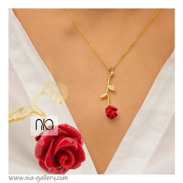 گردنبند نقره گل رز